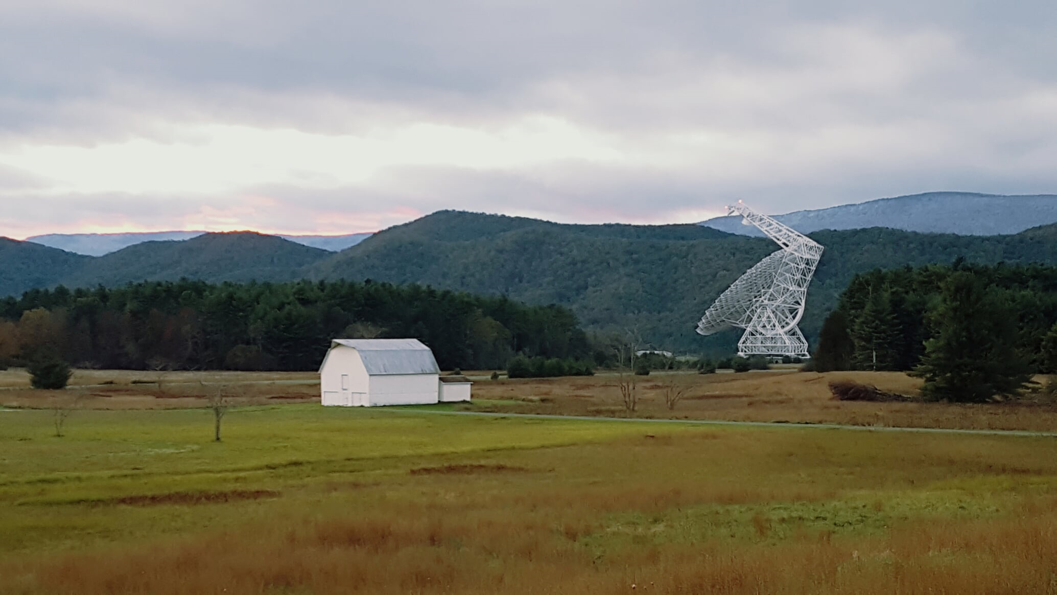 The Robert C. Byrd Green Bank Telescope (GBT) on a cloudy fall day in West Virginia.