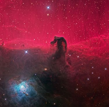 Horsehead Nebula  (Image: K. Crawford)  Right ascension: 05h41m Declination: -02°27'  Distance: 1,500 lightyears Radius: 3.5 lightyears  Constellation: Orion