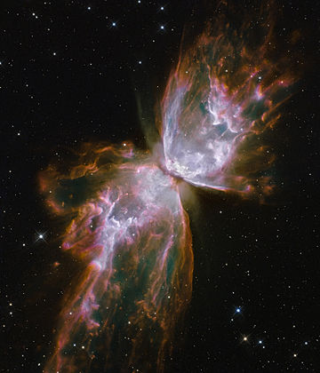Butterfly Nebula  (Image: NASA/ESA)  Right ascension: 17h14m Declination: -37°06'  Distance: 3,400 lightyears Radius: >1.5 lightyears  Constellation: Scorpius