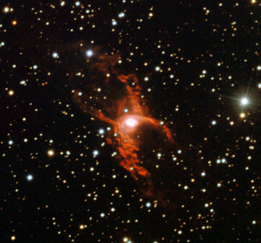 Red Spider Nebula  (Image: ESO)  Right ascension: 18h05m Declination: -19°51'  Distance: 5,000 lightyears Radius: 1.1 lightyear  Constellation: Sagittarius