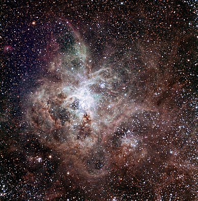 Tarantula Nebula  (Image: TRAPPIST/E. Jehin/ESO)  Right ascension: 05h39m Declination: -69°06'  Distance: 160,000 lightyears Radius: 930 lightyears  Constellation: Dorado
