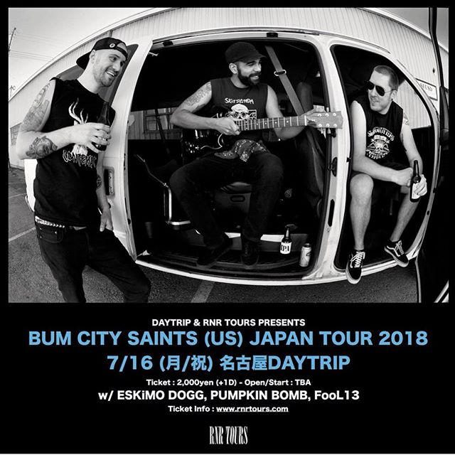 Tonight we're playing at Daytrip in Nagoya with Fool 13, Eskimo Dogg & Pumpkin Bomb! Come out and rage! Abarero! 🇯🇵🤘🏻#bumcitydoesjapan #bumcitysaints #bcs #japantour2018 #piratespressrecords #rnrtours @piratespressrecords @rnrtours #japan