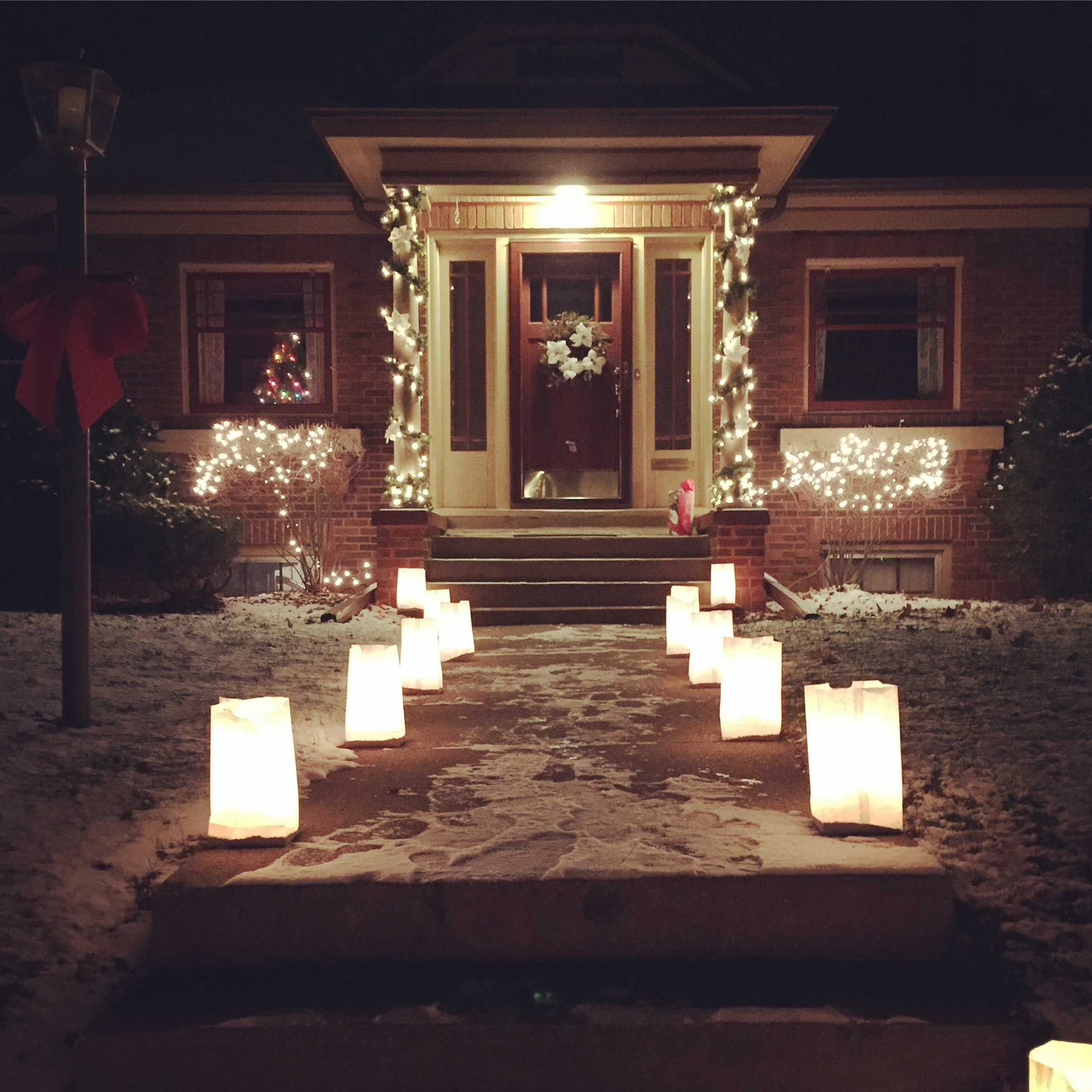 Our little bungalow on our neighborhood's Luminary Night.