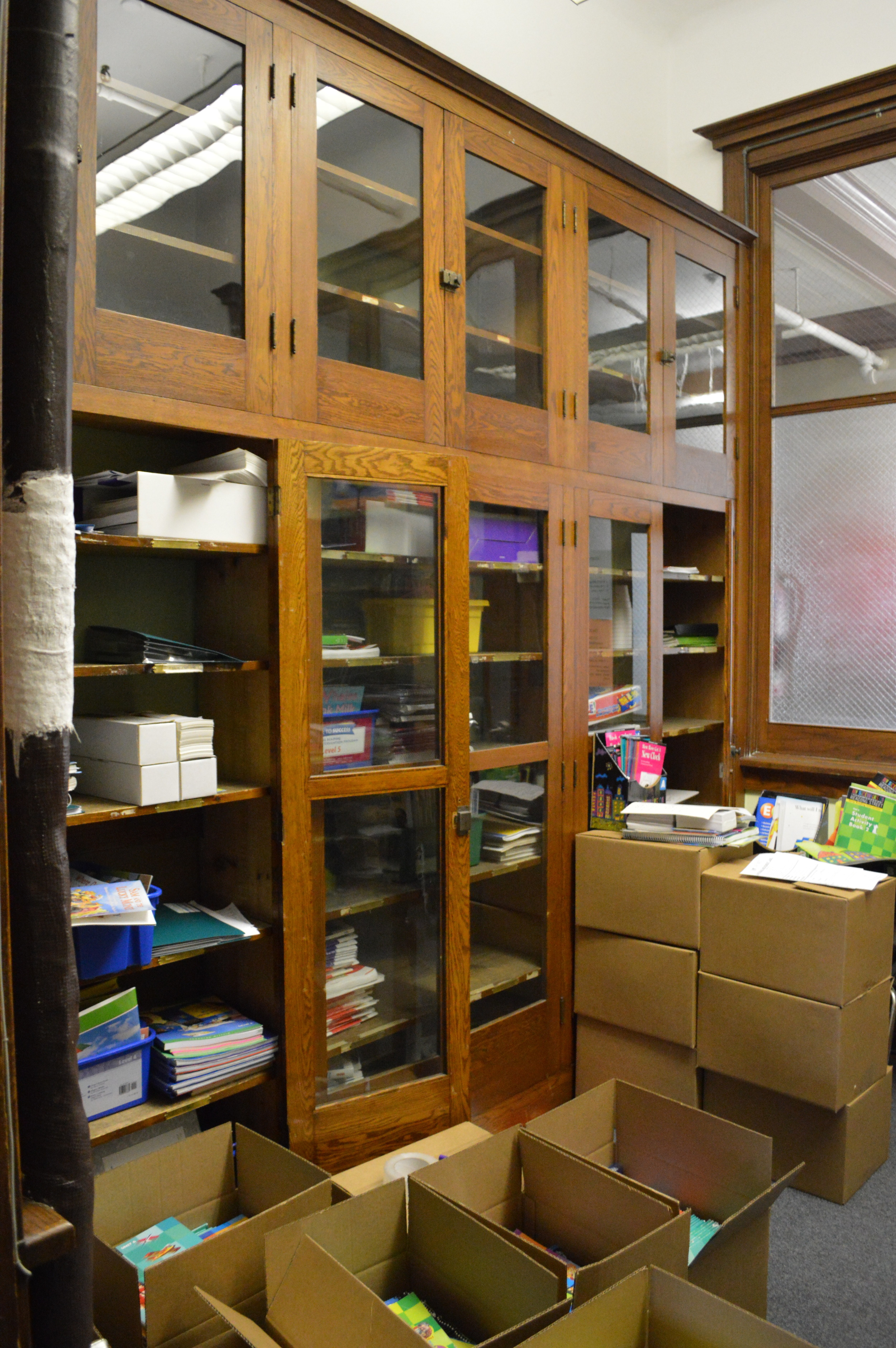 Original built-ins in an office at Walker Elementary School.