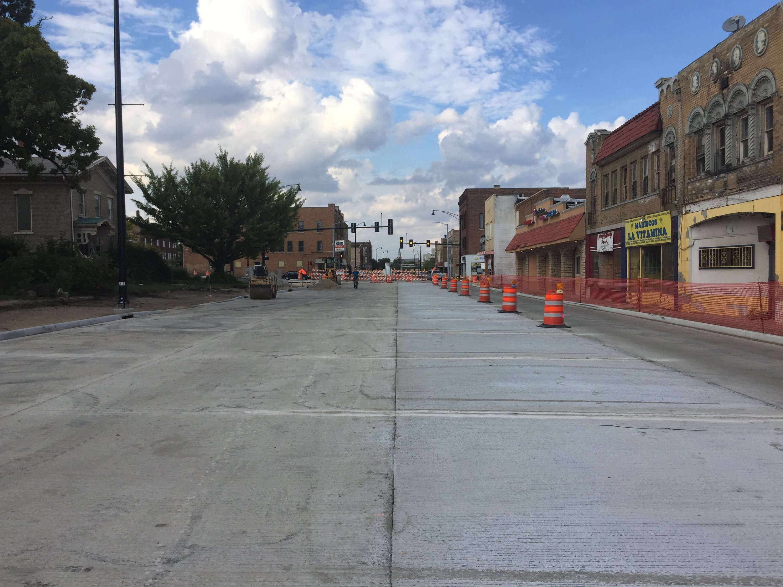 South Main Street, looking north from Morgan Street.  IDOT recently completed this roadway project which includes four 12' travel lanes.  12' lanes are wide, especially given that this stretch is in a compact, walkable area of our city and is less than one mile from city center.