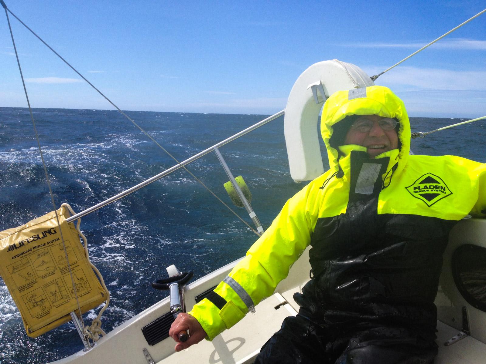 Jens driving his boat Maja