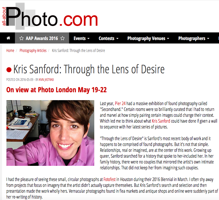 All-About-Photo.com, May 9, 2016  Full article:  Kris Sanford: Through the Lens of Desire