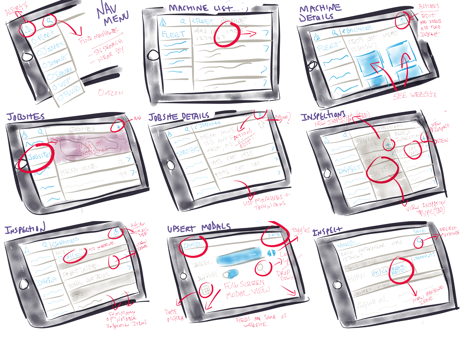 A few examples of quick sketches to flush out the basic design concept.