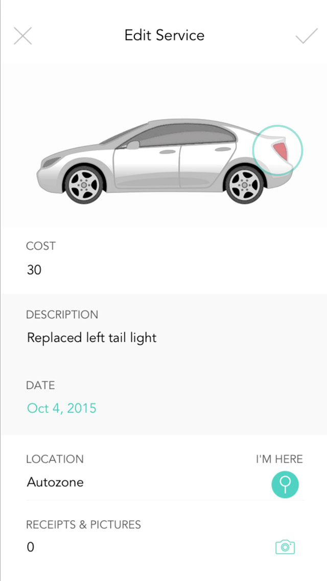 Service - When you enter a service tap the area of the car that you serviced, this allows you to filter by tap in the future when you want to search past entries.