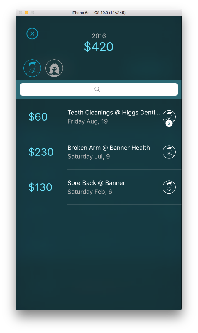 Search - Look through your medical history for a particular entry or filter by person