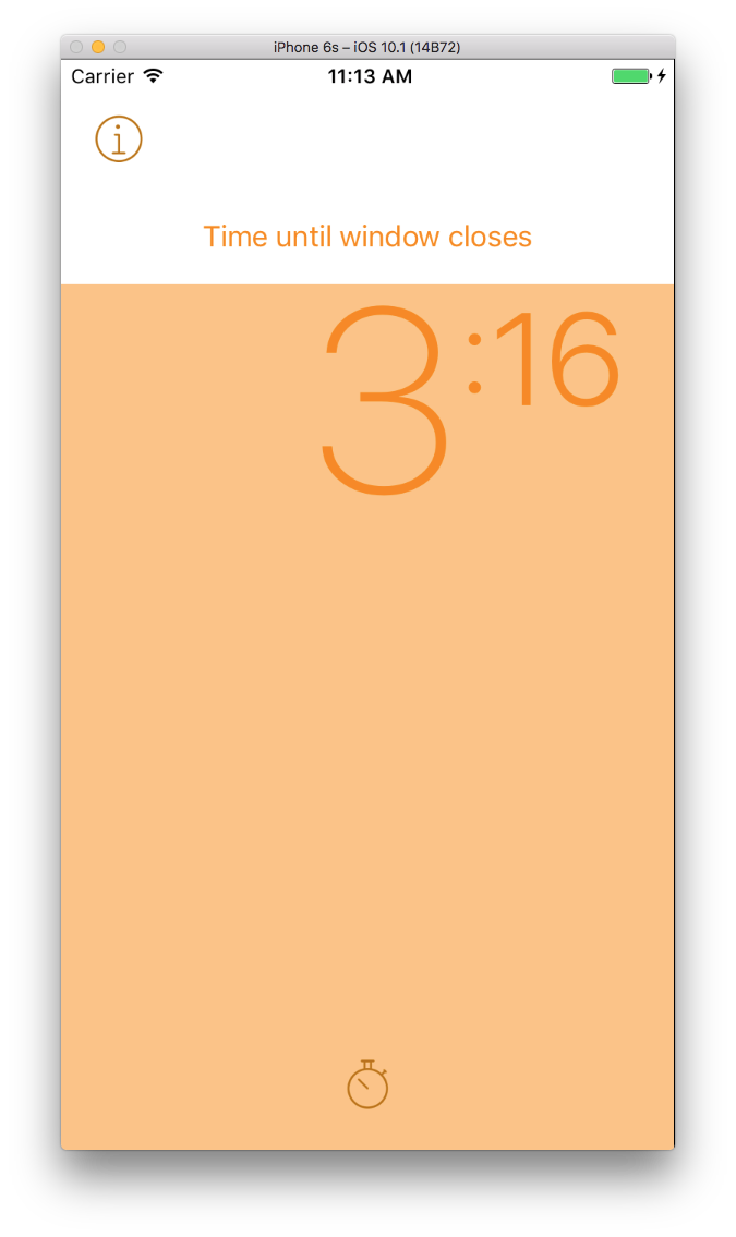 Timer - Orange bar will fill the screen and slowly drain as your eating window closes. This bar is gray while you are fasting.