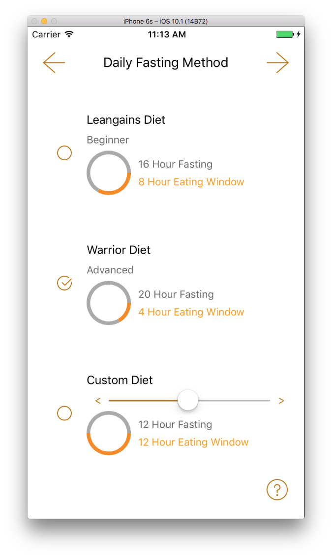 Method - Select or create a fasting method
