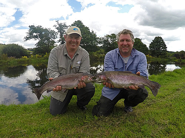 (Above) Nigel Tranter & Gary Brewster made the journey from Essex well worth it landing some very decent Trout during their recent visit to Exe Valley.