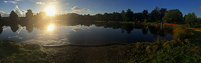 Early morning and Anchor Lake is full once again - but this time the water covers depths to 12ft!