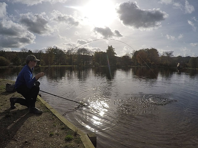 Jamie Pankhurst plays his first fish carefully to the net during the afternoon session