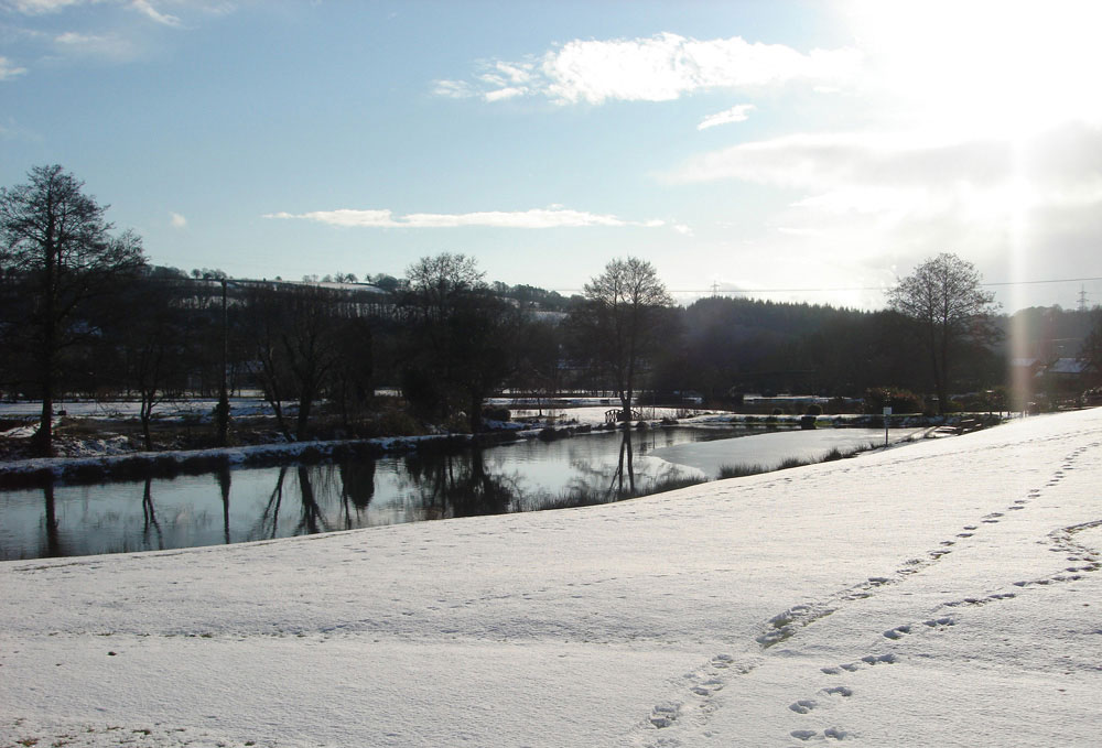 Snowfall on Exe Valley Fishery