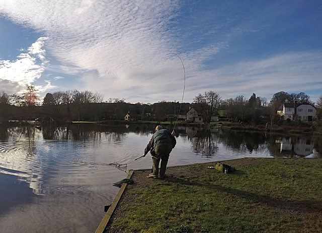 Chris Swain completing his first limit of Trout for many seasons under a glorious blue January sky.
