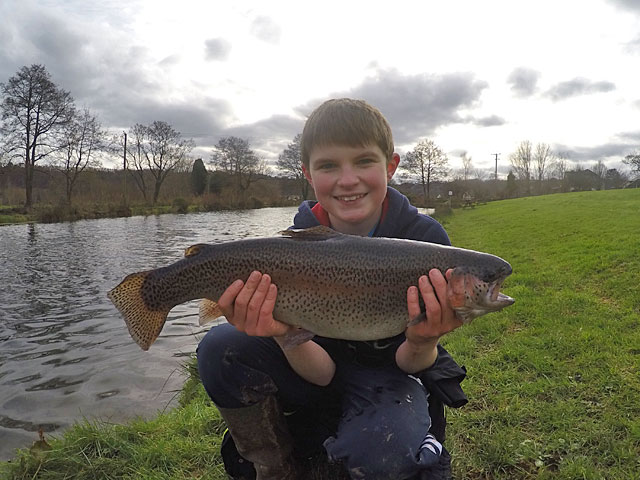 Star young angler - 12 year old Ben Taylor was thrilled with his 6lb 8oz Rainbow caught on a Buzzer