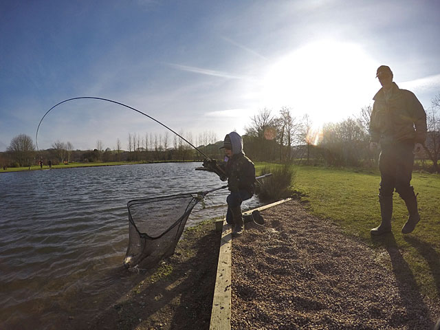 A rare sight this winter - the sun! It was cold in a brisk North East wind but 11 year old James Mockridge (above) didn't let the conditions stand in the way of success.