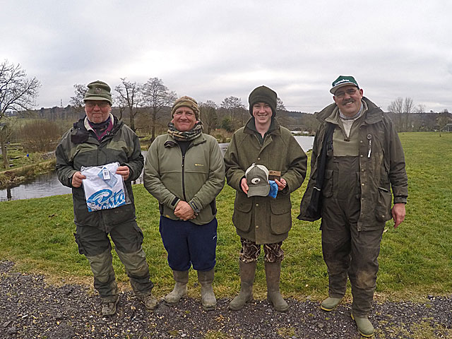 Bank Masters - Left to Right: 2nd - Alan Jukes, 1st - Chris Short & 3 rd - Toby Bennett.  Far Right - £50 tagged Trout winner, Gavin Argyle.