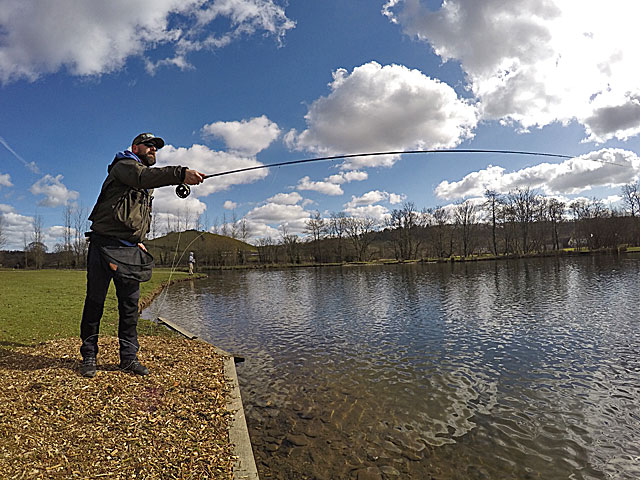Fishing in the spring sunshine at Exe Valley Fishery