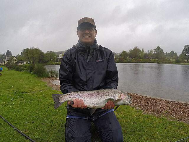 First Trout on fly for Brent Stephen - a 6lb beauty which took a Blue Damsel fished on a floating line.