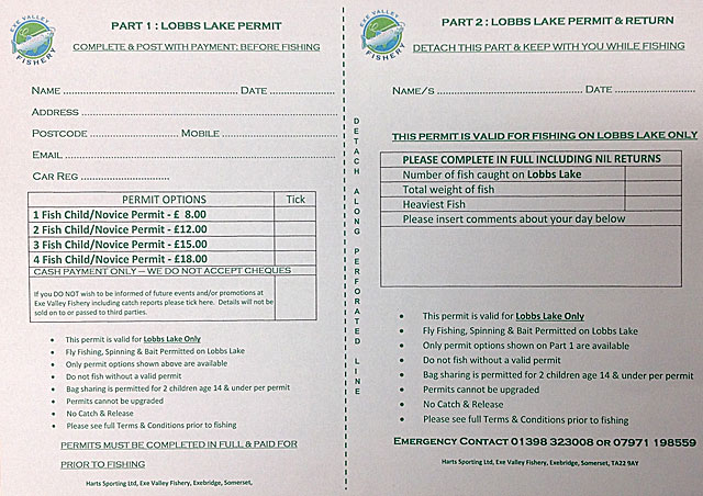 The new Lobbs Lake Permit - ideal for young & novice anglers keen to experience the thrill of a fish!