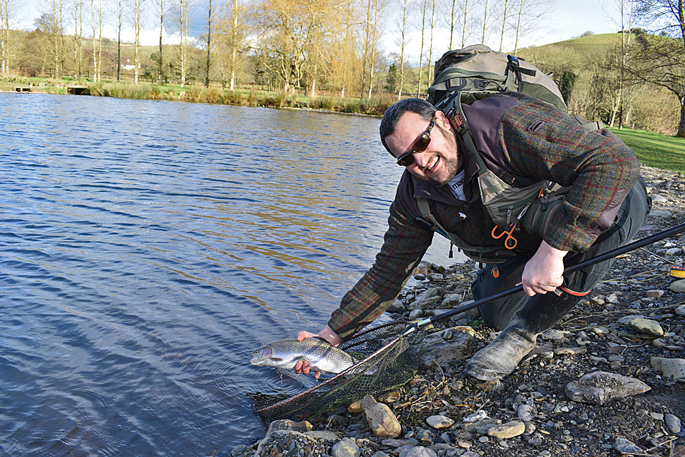 New to the Sport. Andi Avery caught a total of 9 Trout during his visit using Tungsten Buzzers.