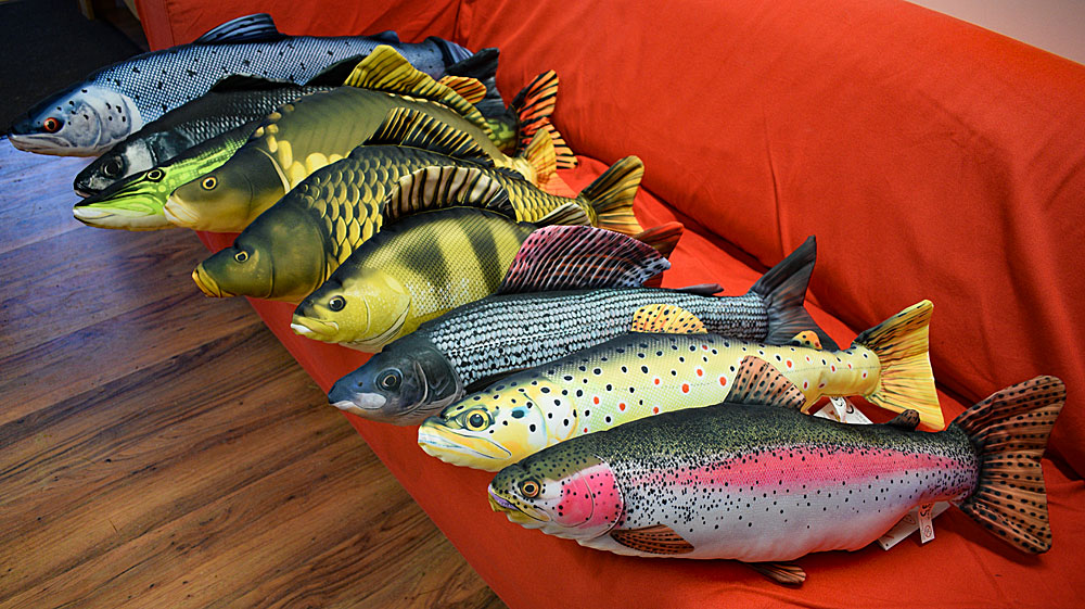 Brighten up the sofa - a great gift for the angler in your life! Priced £16.95 to £19.95