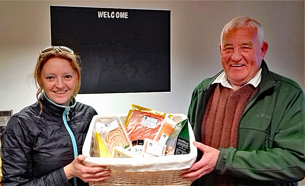 Steve Edmonds looking pleased with his winning hamper which he tells us he will be turning in to Christmas breakfast! Steve - we think there will probably be enough for Boxing Day too!!