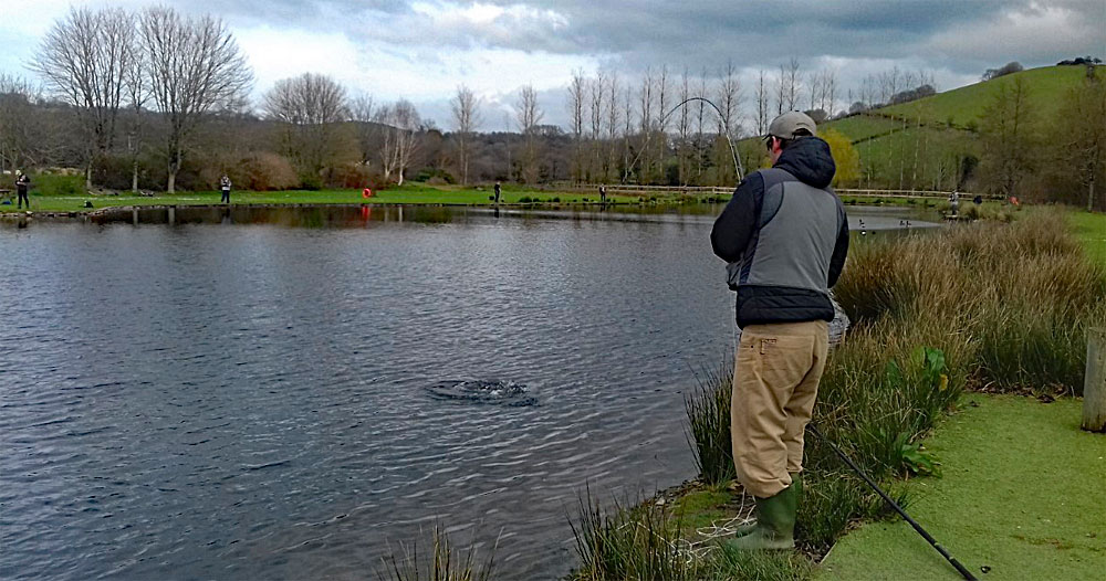 Matt Hunt from Torquay, playing an Anchor Rainbow Trout, 1 of the 9 he caught and released during the week providing him not only with a great days sport but qualifying him for a free permit. If you have been taking part in our loyalty scheme please note that the offer has been extended to the end of April 2019