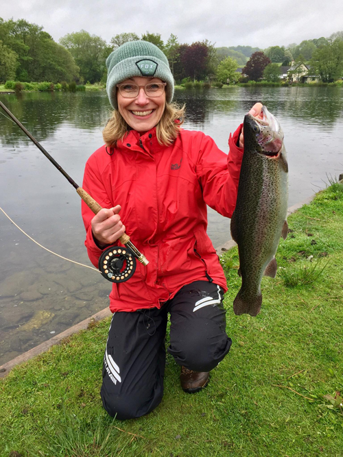 Jackie with her first ever Trout