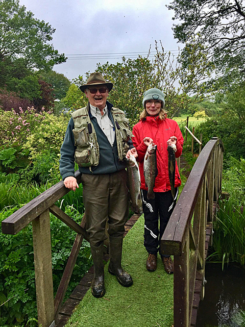 John Dawson who organised the succesfull FORCE event at Exe Valley with Jackie and just a few of the fish from the day.