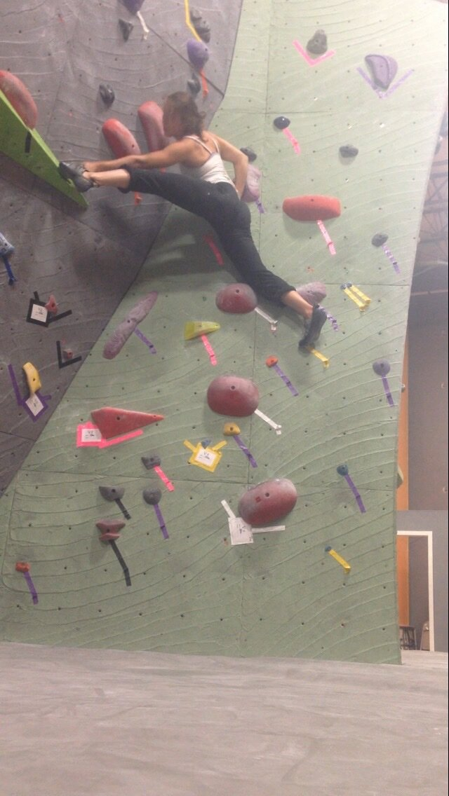 Rockclimbing in 2014, a year after recovering my health.
