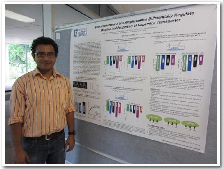 Kaustuv Saha  Methamphetamine and Amphetamine Differentially Regulate Biophysical Properties of Dopamine Transporter.