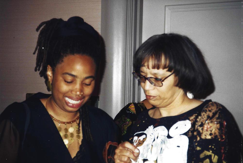 Aishah Shahidah Simmons and Black feminist scholar-activist Beverly Guy-Sheftall at the National Black Arts Festival in Atlanta, Georgia_Michael Simmons, photographer ©1996