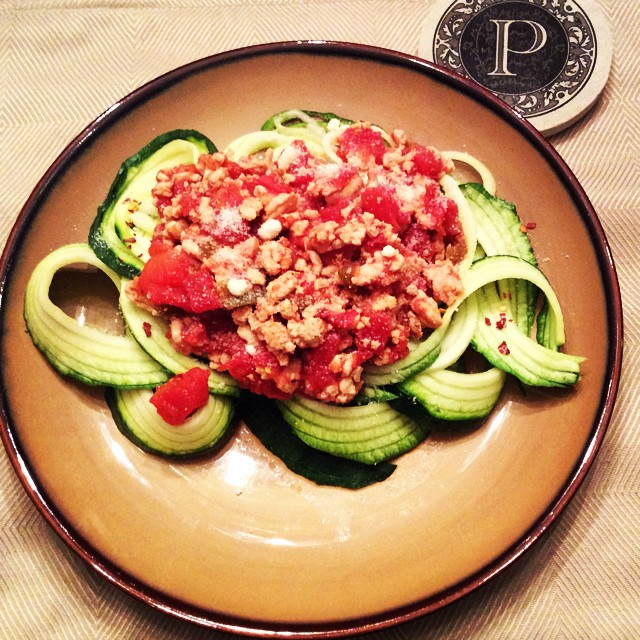 Turkey and Tomato Salsa over Zoodles! It's what's for dinner!