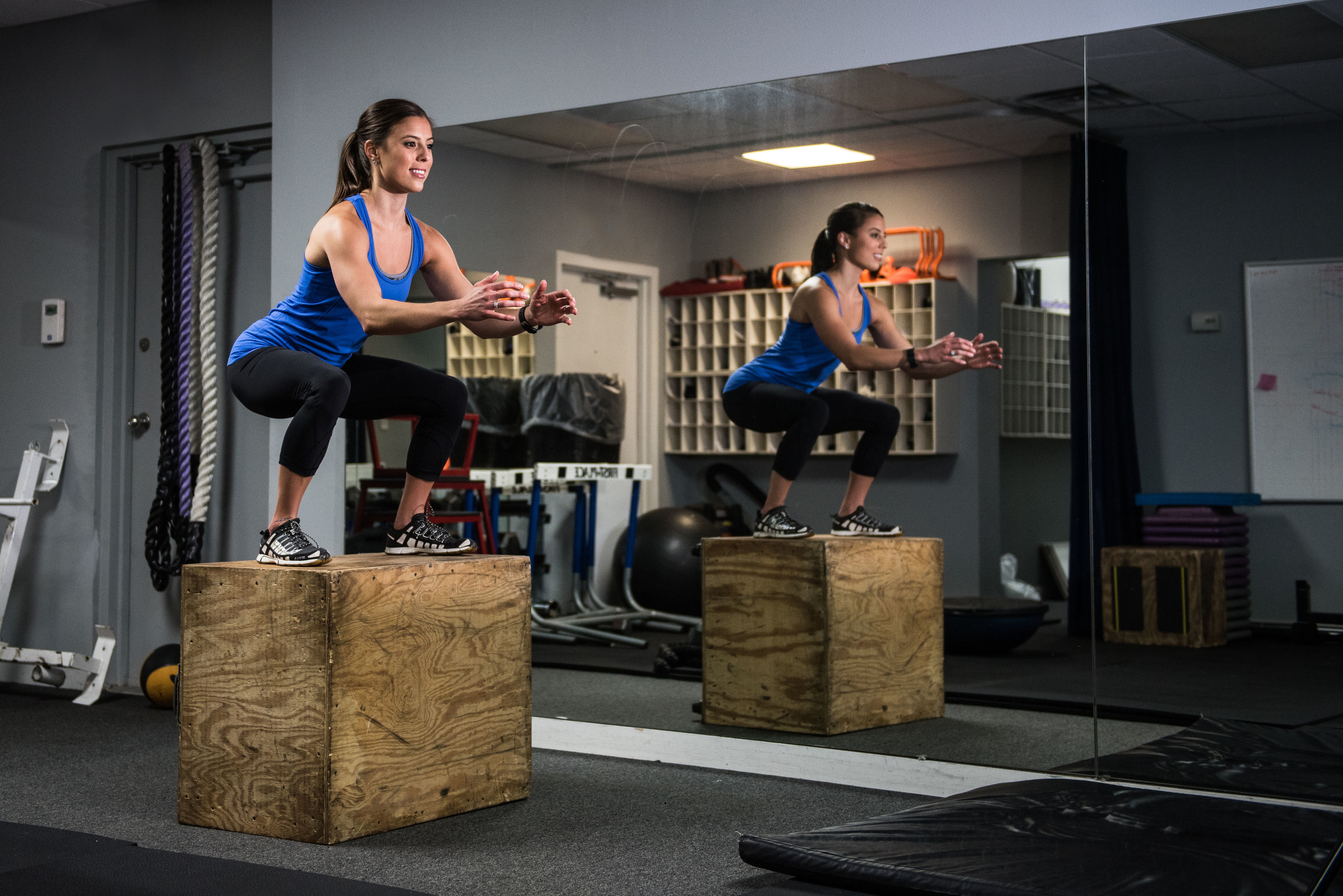 Landing phase of the Box Jump (Exercise #3) - note proper squat position