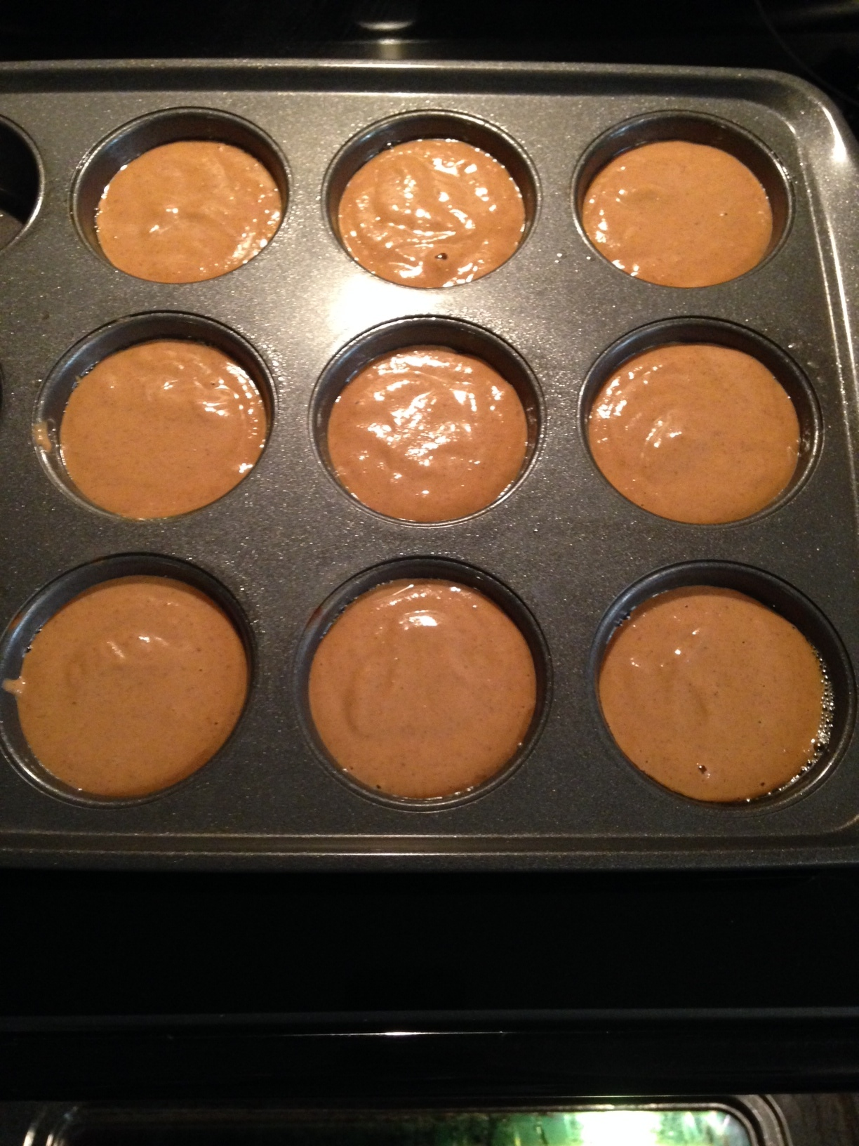 Muffin tin full and ready for the oven!