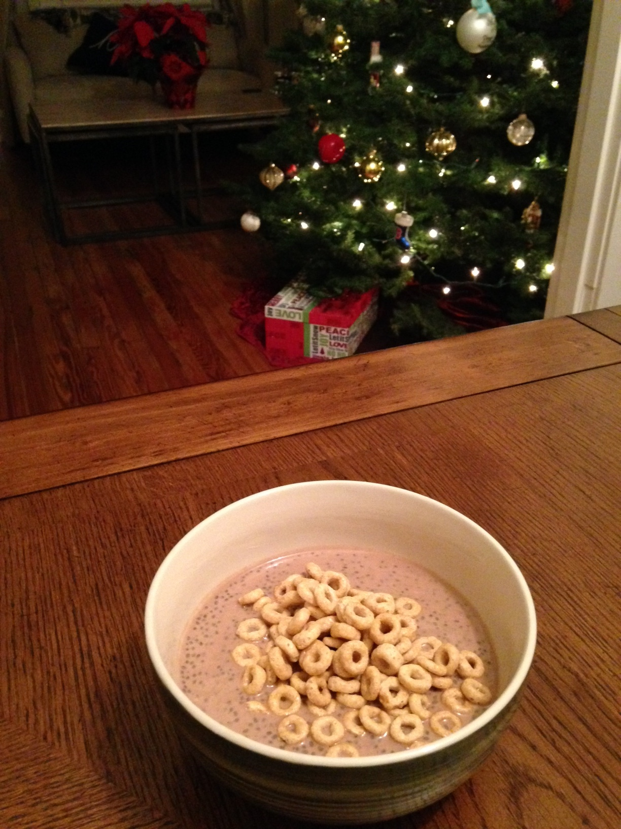 Nothing like a bowl of Chia Pudding and sitting by the glow of a Christmas tree!