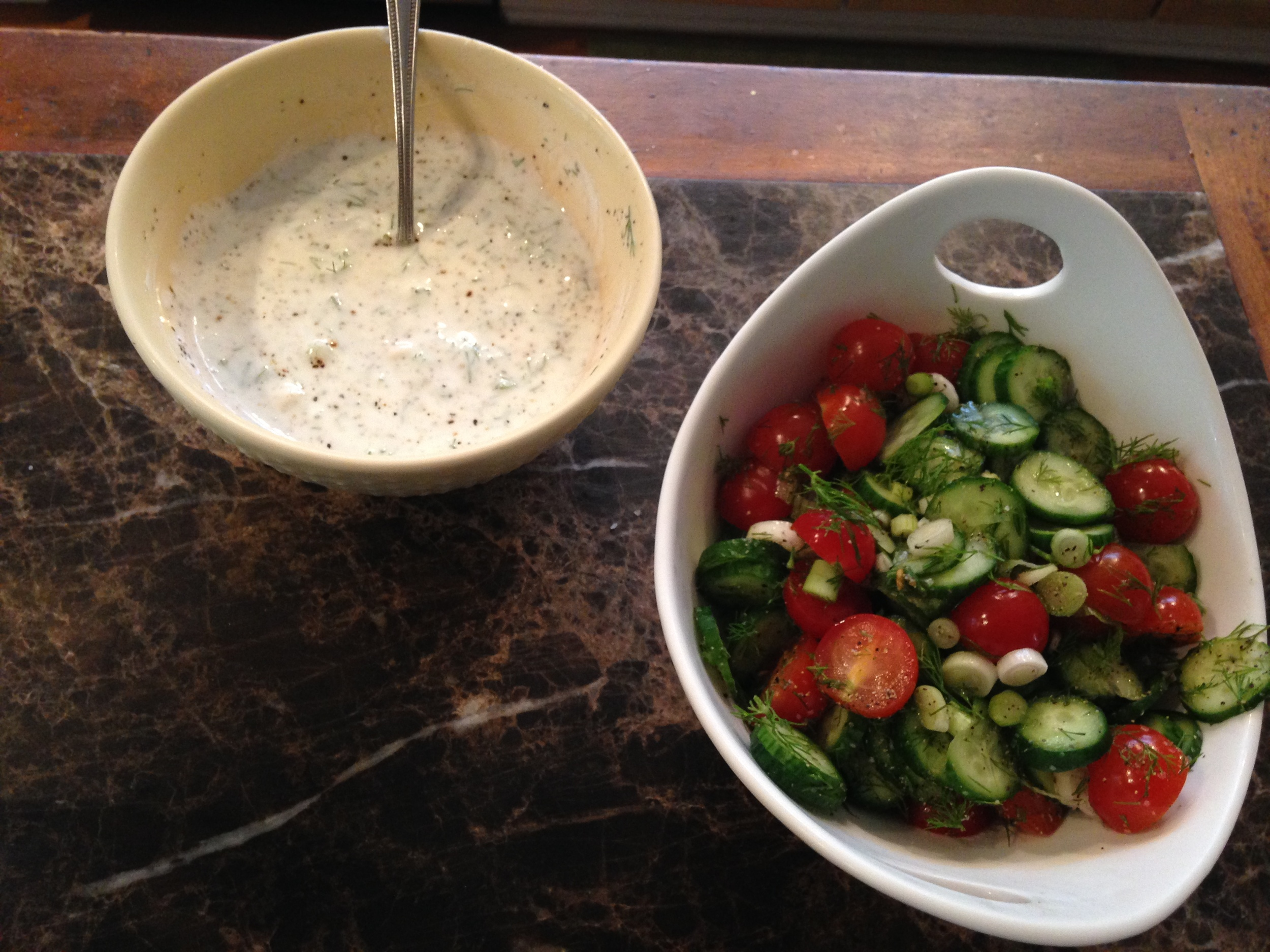 step 1 & 2: delicious creamy Dill sauce and tasty tomato-cucumber salad