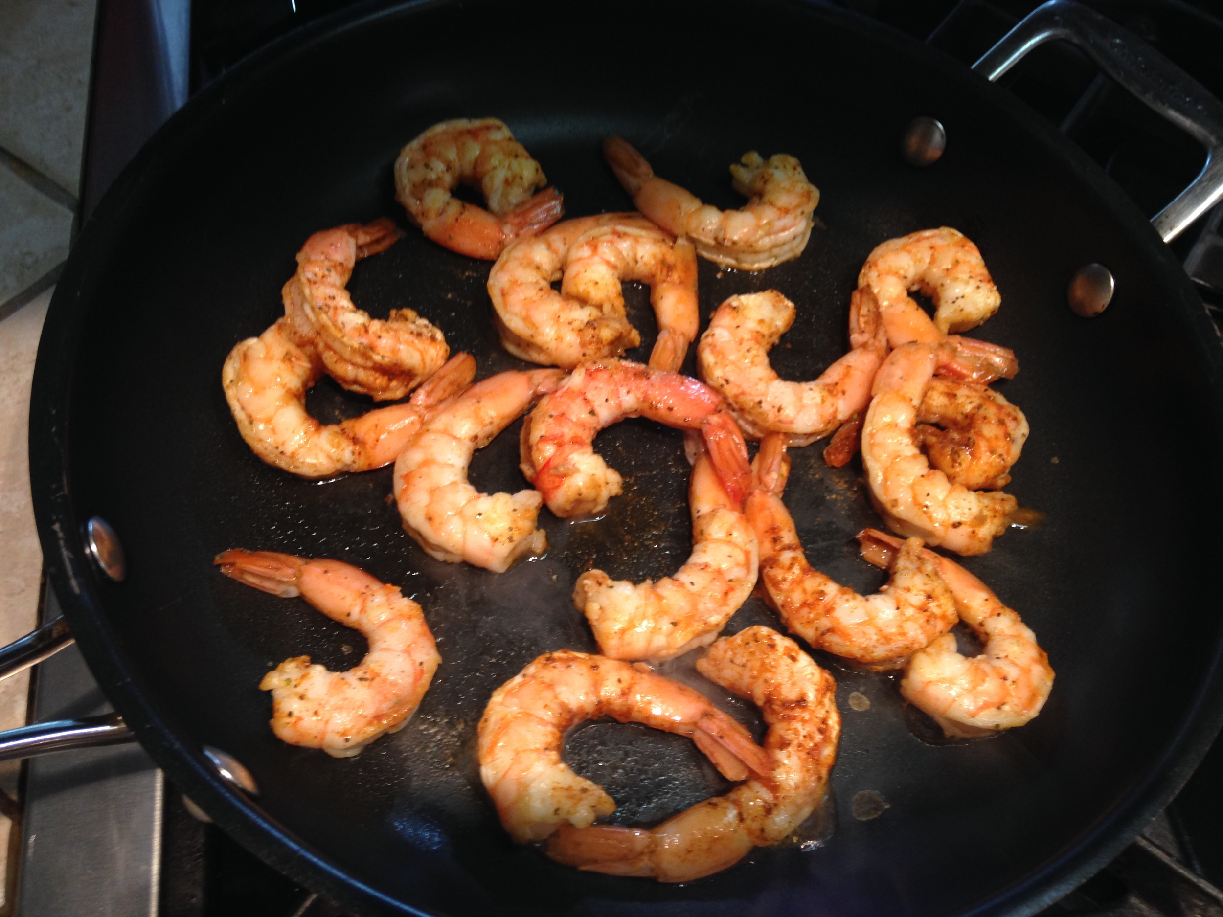 finishing touch: sauté the shrimp!