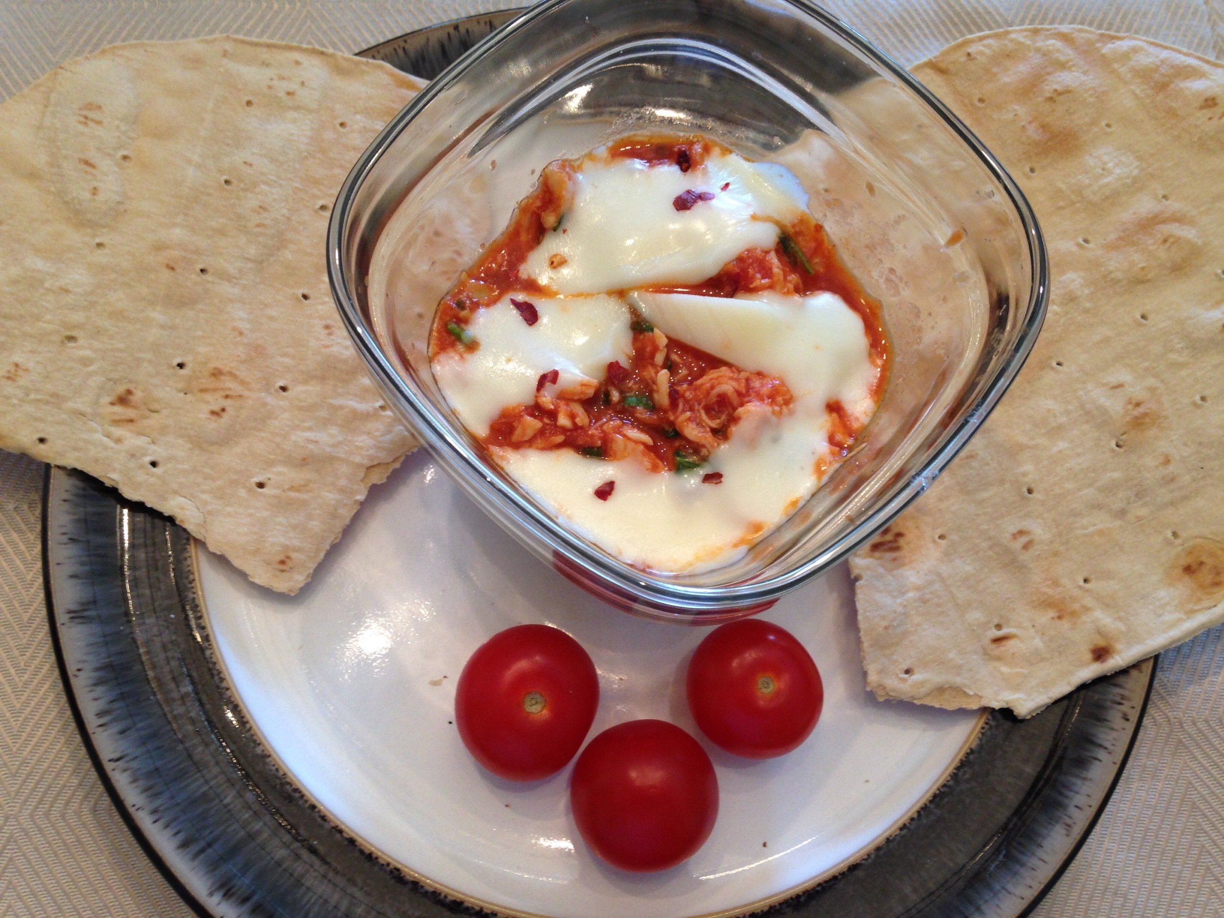 Lightened-up Chicken & Mozzarella Dip with baked Gluten Free Flatout Bread Wrap and tomatoes!