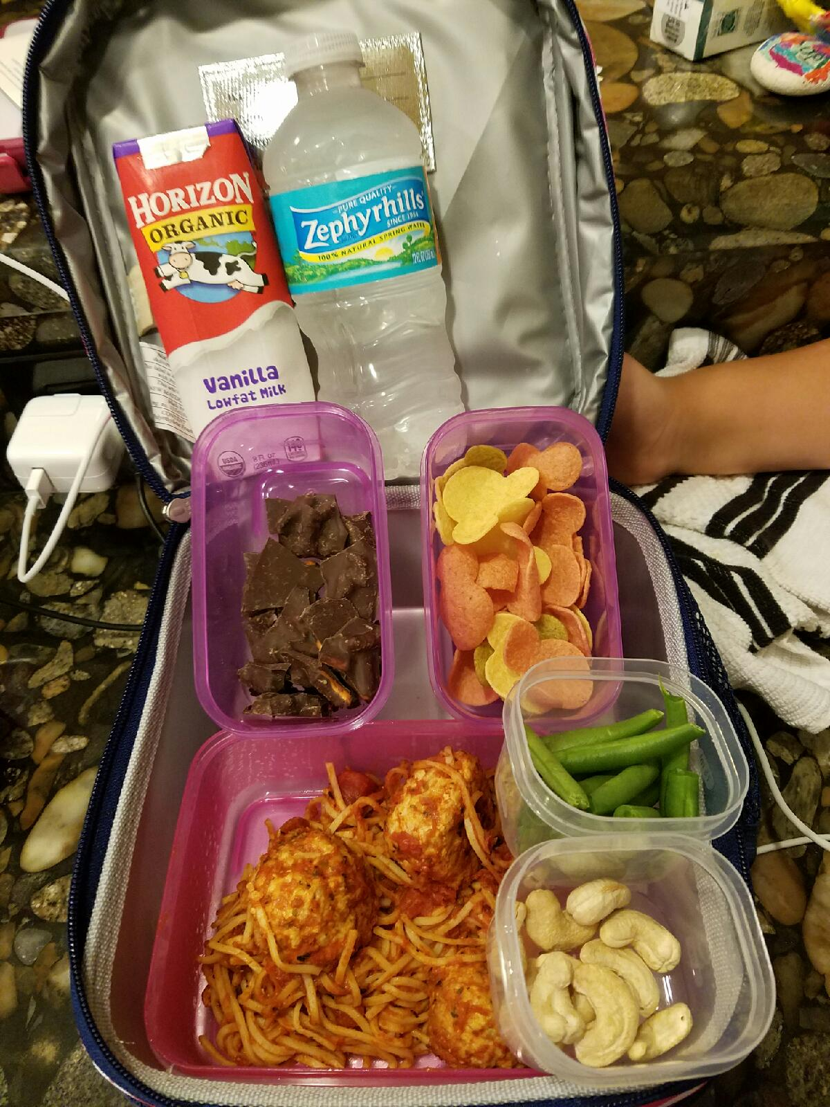 """Winning combination of clean carbohydrates, lean protein, and healthy fats with colorful veggies! And that's whole wheat pasta, which was something my client """"did not like"""" but now she loves! Yay for whole grains!"""