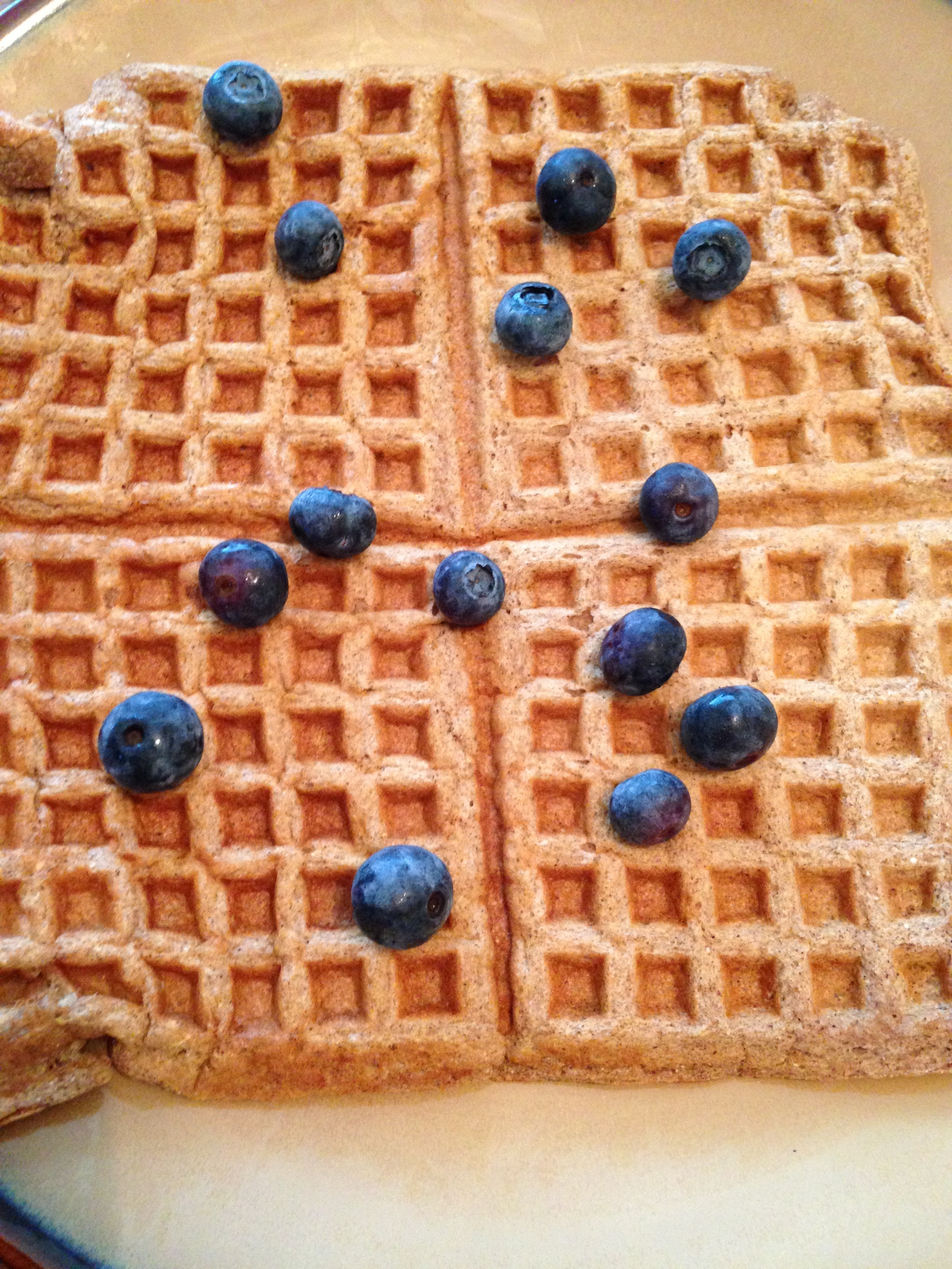 My husband's waffles topped with fresh blueberries, before the maple syrup!