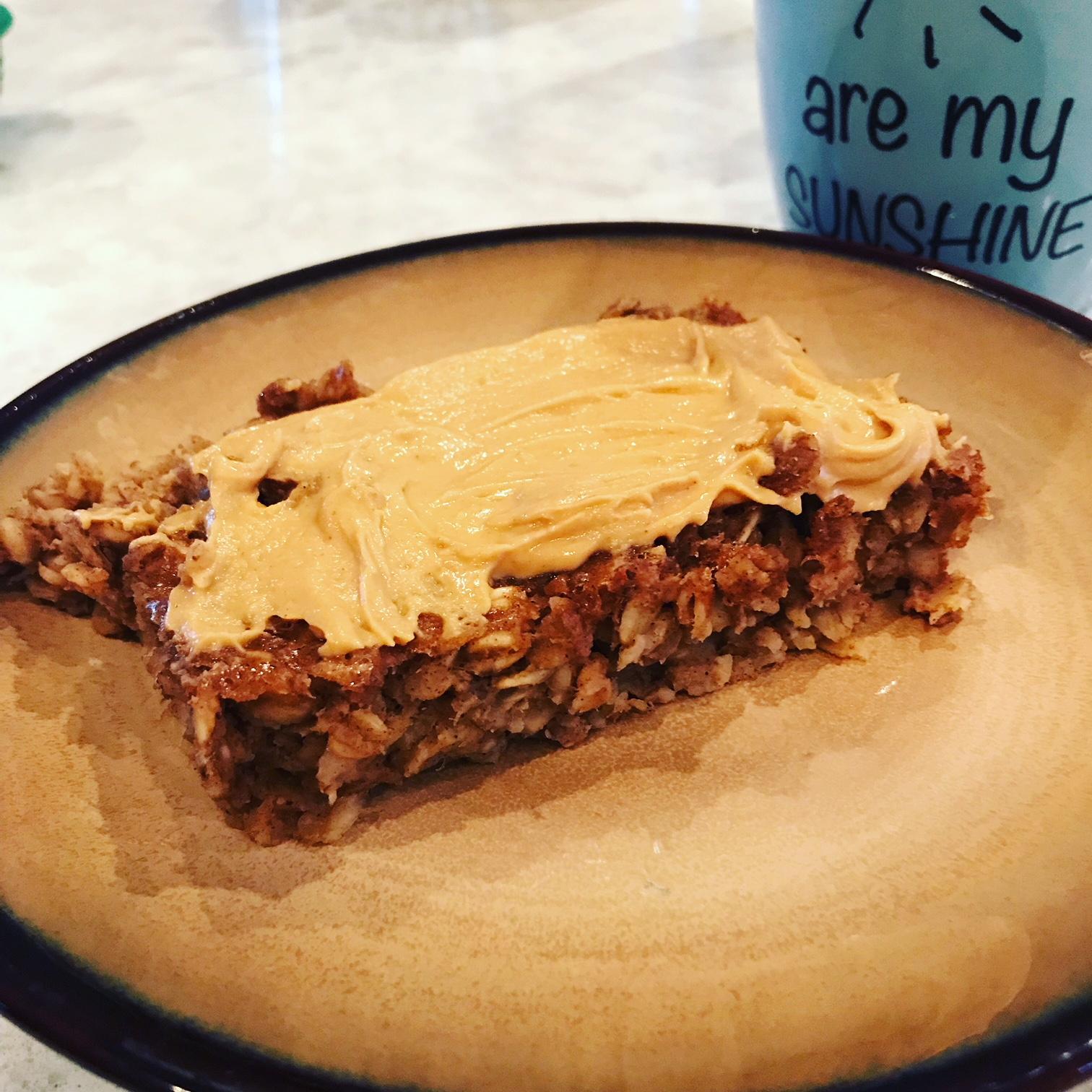 Peanut butter and banana oatmeal bake