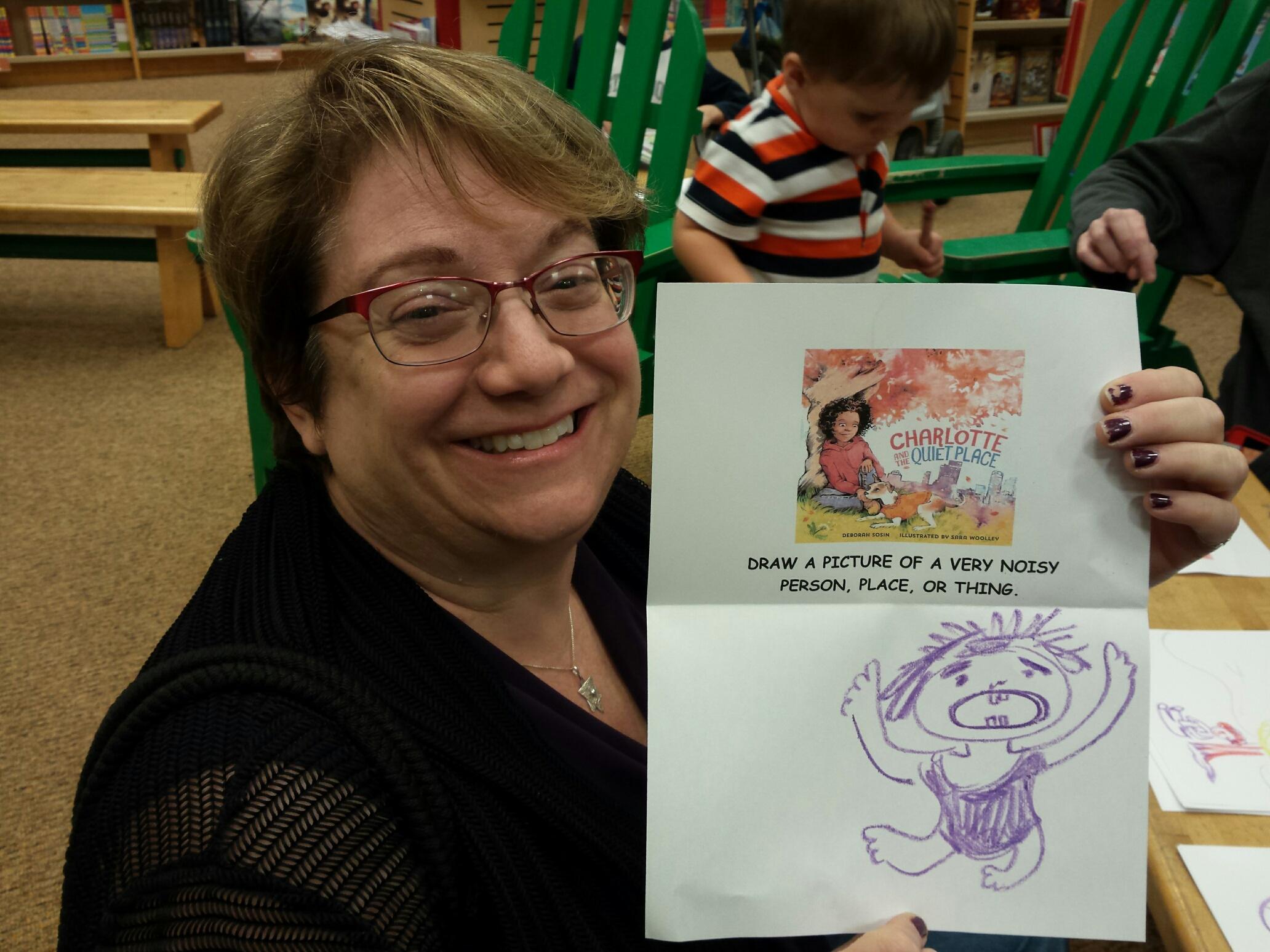 Phyllis draws a noisy person.
