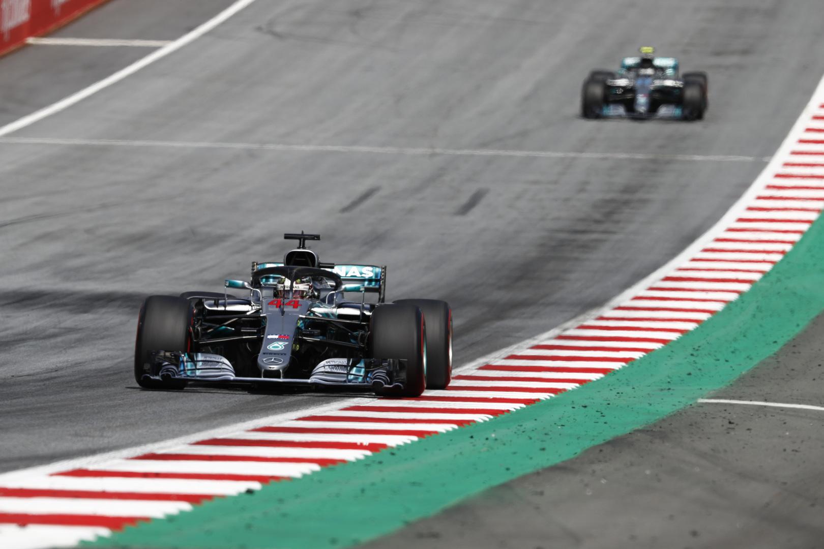 Lewis Hamilton leading Valtteri Bottas, Austrian Grand Prix.  Photo: Steve Etherington