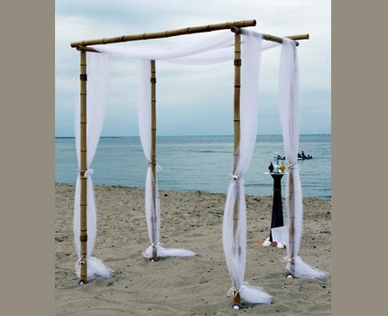 We designed this bamboo Chuppah for a wonderful California beach wedding.