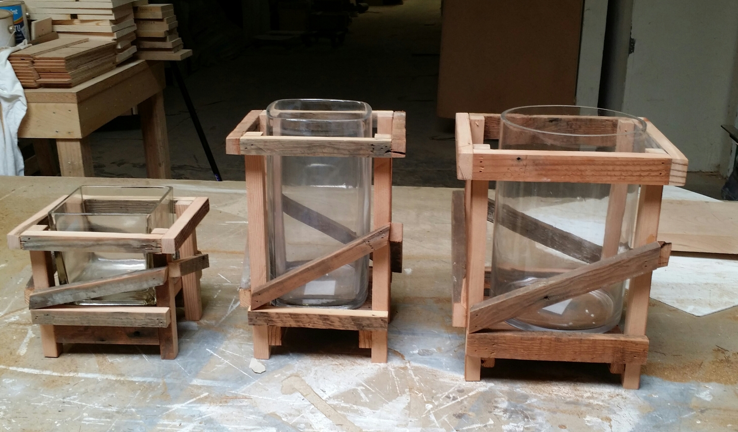 Samples of CC Design rustic wrap around containers for glass vessels, great for centerpieces in need of a rustic vibe.